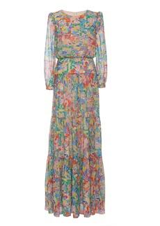 Saloni Isabel Printed Silk-Chiffon Maxi Dress