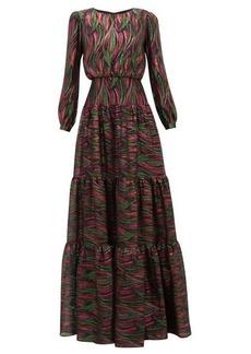 Saloni Isabel rainbow-jacquard silk-blend dress
