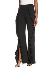Saloni Ivy Ruffle Flared Trousers
