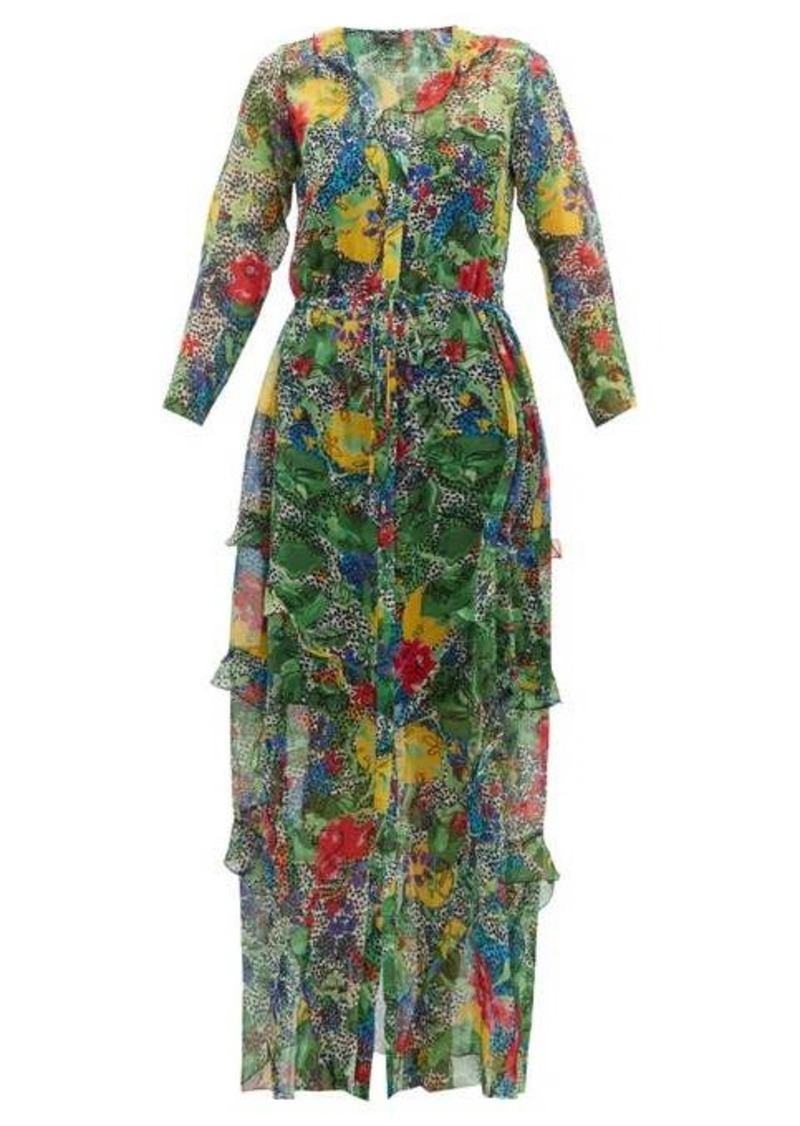 Saloni Izzie abstract floral-print silk dress
