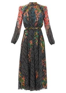 Saloni Jacqui B Coral Blossom-print silk midi dress