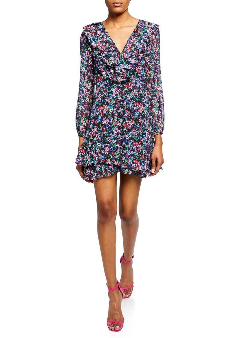 Saloni Jodie 3/4-Sleeve Floral-Print Silk Dress
