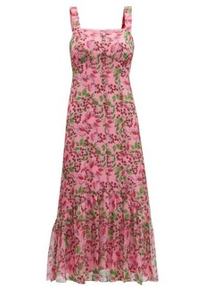 Saloni Joel floral and berry-print silk midi dress