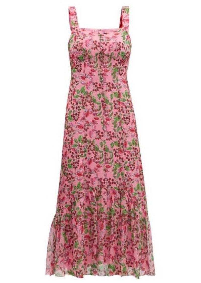 Saloni Joel floral and berry-print silk midi dress