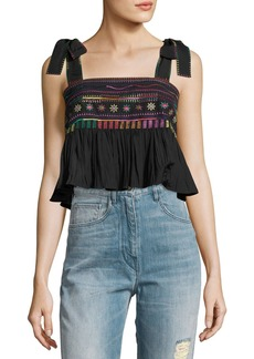 Saloni Jools Ruffle Embroidered Crop Top