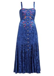 Saloni Karen floral-jacquard silk midi dress