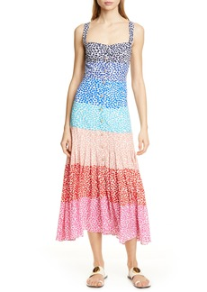 SALONI Karen Stripe Silk Dress