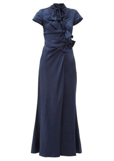 Saloni Kelly bow-trim silk-charmeuse maxi dress