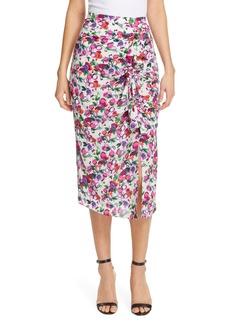 SALONI Kelly Floral Print Silk Skirt