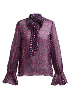 Saloni Lauren devoré silk-blend blouse