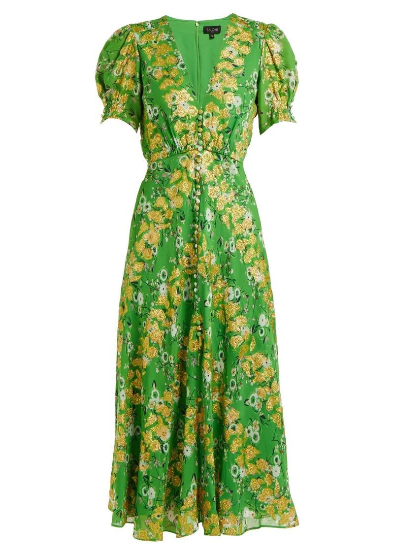 5705a6201 Saloni Saloni Lea floral-jacquard puff-sleeved silk-blend dress ...