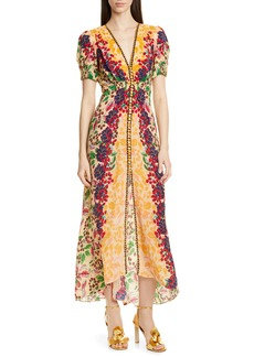 SALONI Lea Print Silk Maxi Dress