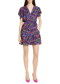 SALONI Lea Print Silk Wrap Minidress