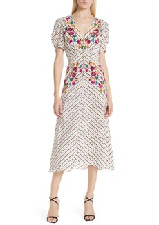 SALONI Lea Silk Midi Dress