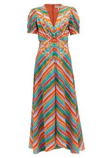 Saloni Lea striped silk crepe de Chine maxi dress