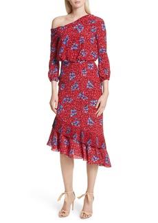 SALONI Lexie Floral Print Silk Off the Shoulder Dress