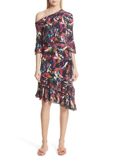 SALONI Lexie Floral Print Silk Off the Shoulder Dress