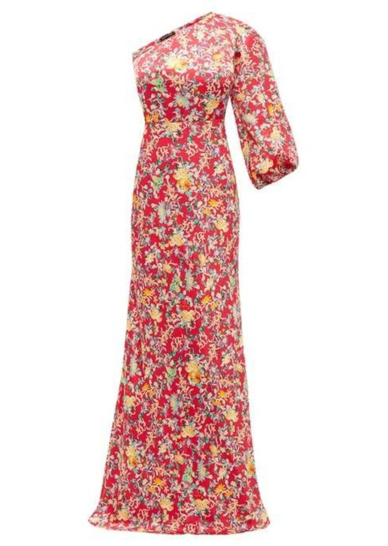 Saloni Lily one-shoulder floral-print silk dress
