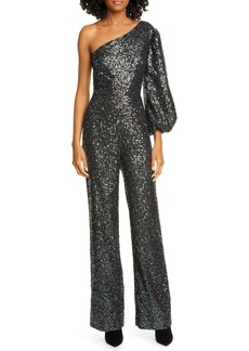 SALONI Lily One-Shoulder Sequin Jumpsuit