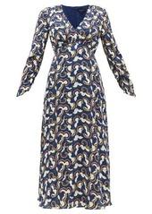 Saloni Lisa cloud-print crepe midi dress