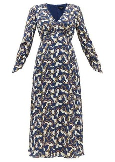 Saloni Lisa cloud-print crepe midi dress