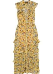 Saloni Lizzie ruffled floral-print chiffon maxi dress