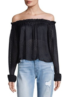 Saloni Long Sleeve Off-The-Shoulder Top