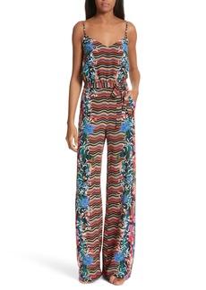 SALONI Loretta Floral & Stripe Print Silk Jumpsuit