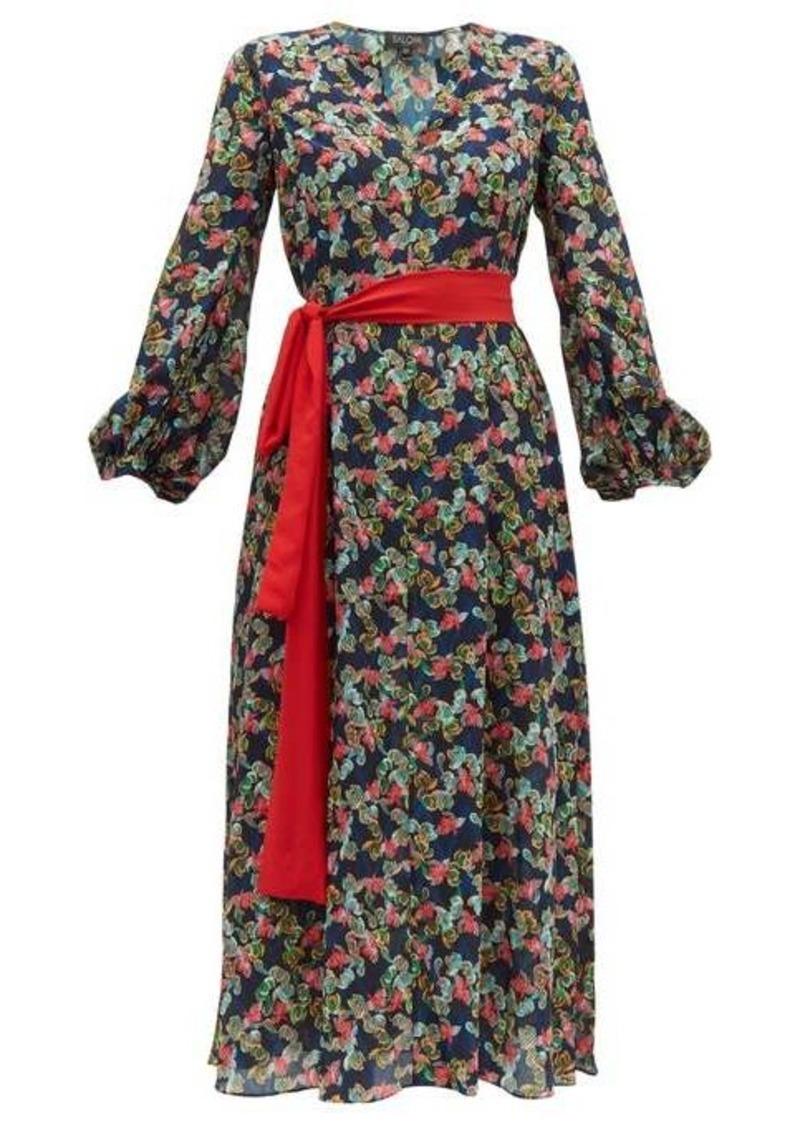 Saloni Lucia floral print silk-crepe de Chine dress