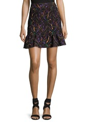Saloni Maggie Floral-Print Pintuck Skirt