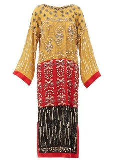 Saloni Maki-B embellished silk-georgette kaftan dress