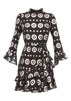 Saloni Marissa metallic-fil coupé silk-blend dress