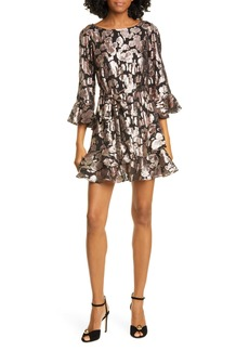 SALONI Marissa Metallic Floral Fil Coupé Minidress
