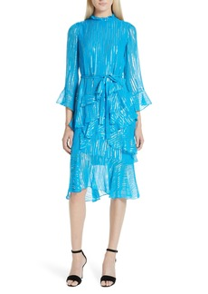 SALONI Marissa Metallic Ruffle Dress