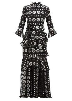 Saloni Marissa metallic silk-blend jacquard maxi dress