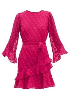 Saloni Marissa ruffled polka-dot silk-blend mini dress