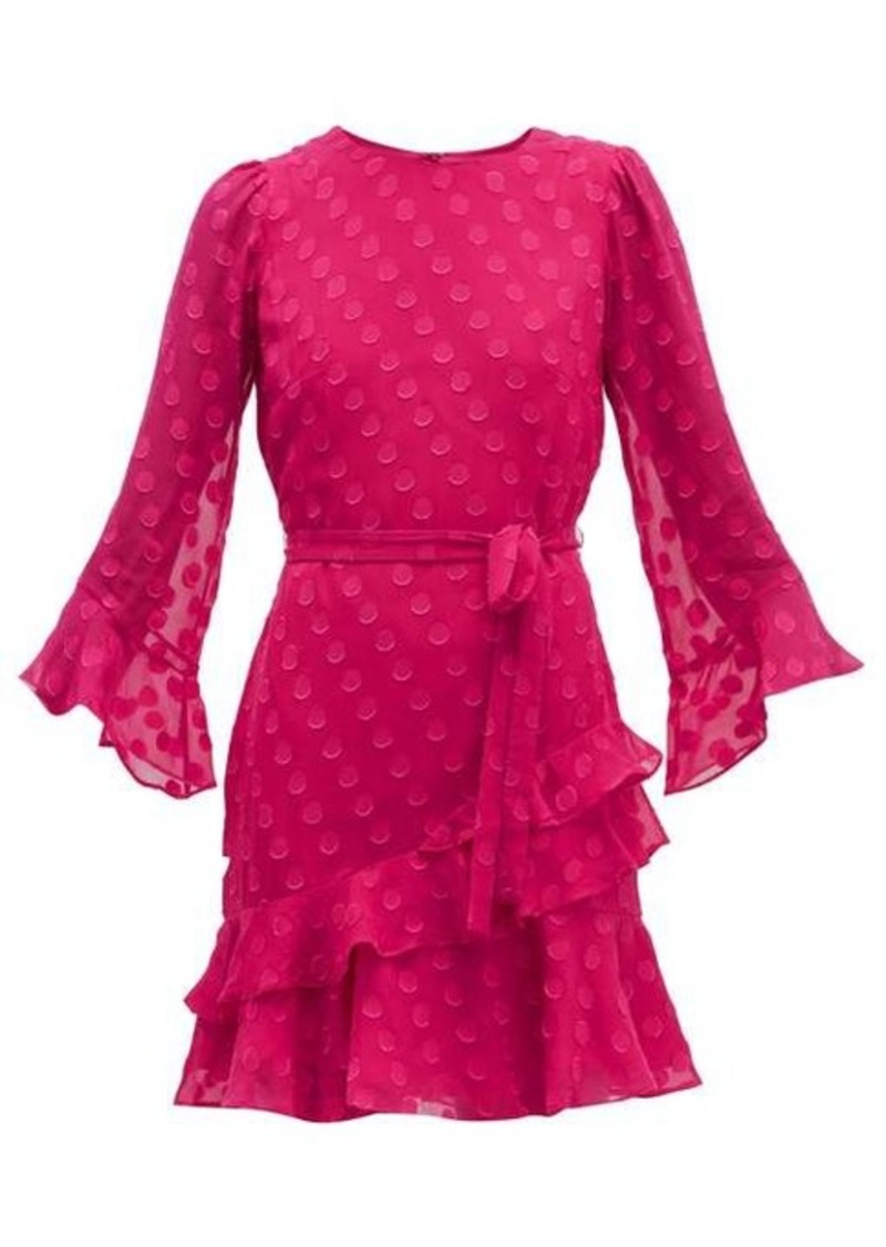 Saloni Marissa ruffled polka-dot silk-blend mini dress
