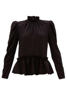 Saloni Mel ruffled puff-sleeve silk blouse