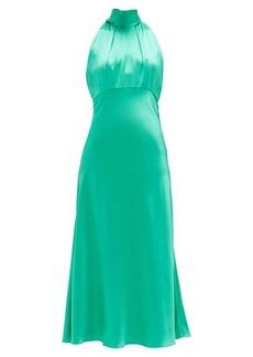 Saloni Michelle high-neck silk-satin midi dress