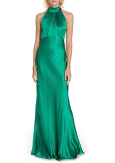 SALONI Michelle Velvet Bow Silk Halter Gown