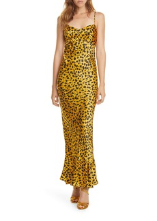 SALONI Mimi Leopard Silk Satin Maxi Dress