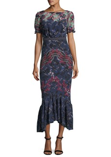 Saloni Mira Boat-Neck Printed Silk Midi Dress