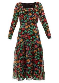 Saloni Misha floral-print silk-chiffon midi dress