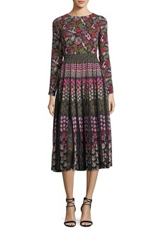 Saloni Nuri Long-Sleeve Floral-Print Midi Dress with Lace Inserts