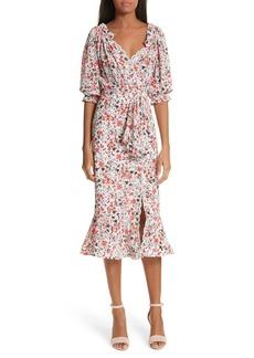 SALONI Olivia Silk Blend Midi Dress
