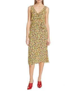 SALONI Penelope Floral Print Silk Midi Dress