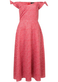 Saloni polka dot print off the shoulder dress