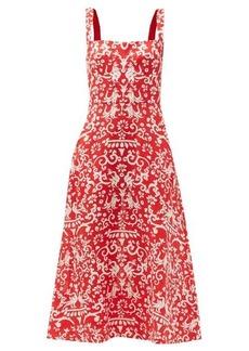 Saloni Rachel Chilli Phoenix-print linen midi dress