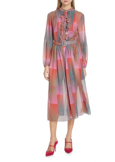 SALONI Raquel Belted Silk Midi Dress