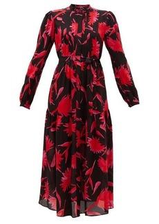 Saloni Remi carnation-print silk midi dress
